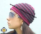 Alpaca Wool Hat worms burgundy -  Product id: Alpaca-Hats09-42 Photo02