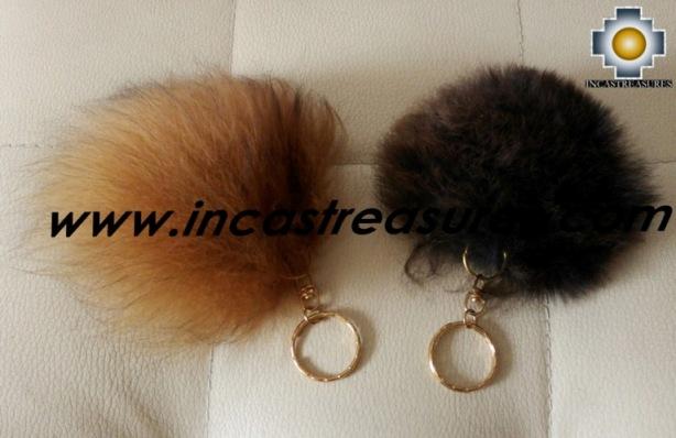 Alpaca Fur Pom Poms Keyrings - 100% Baby Alpaca