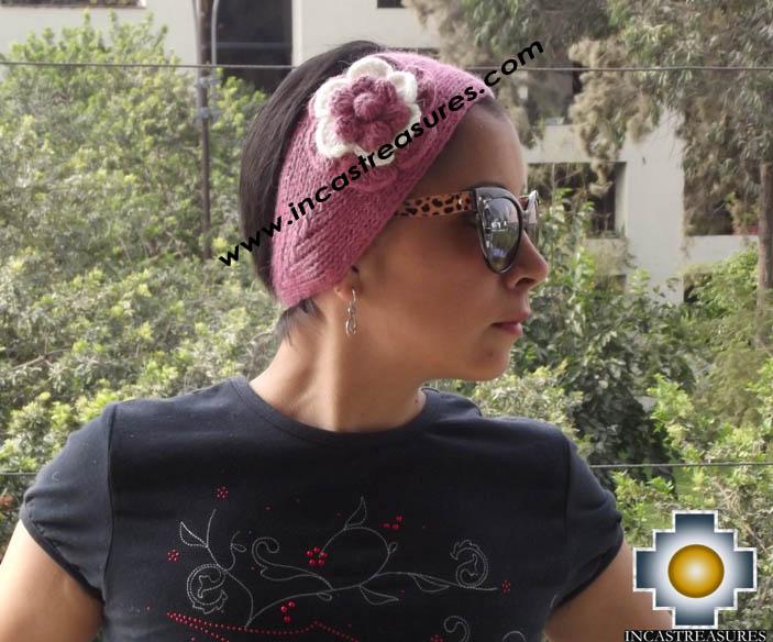 Alpaca Headband Flower Pink -  Product id: Alpaca-Headband15-01