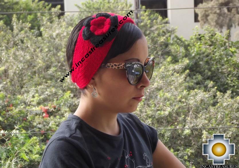 Alpaca Headband Flower red -  Product id: Alpaca-Headband15-02