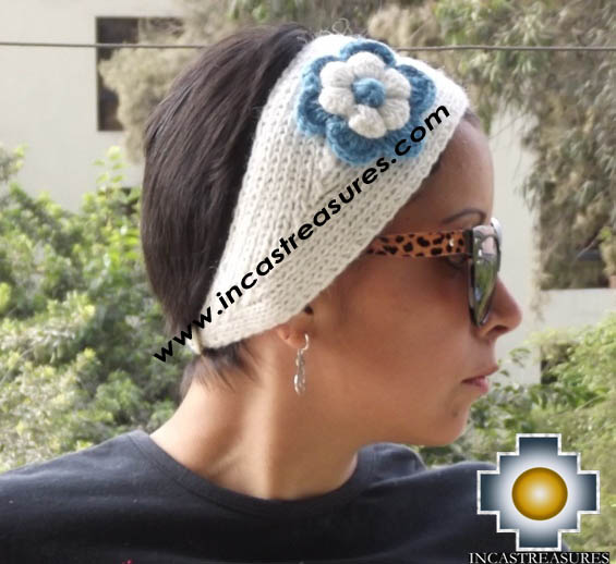 Alpaca Headband Flower white -  Product id: Alpaca-Headband15-03