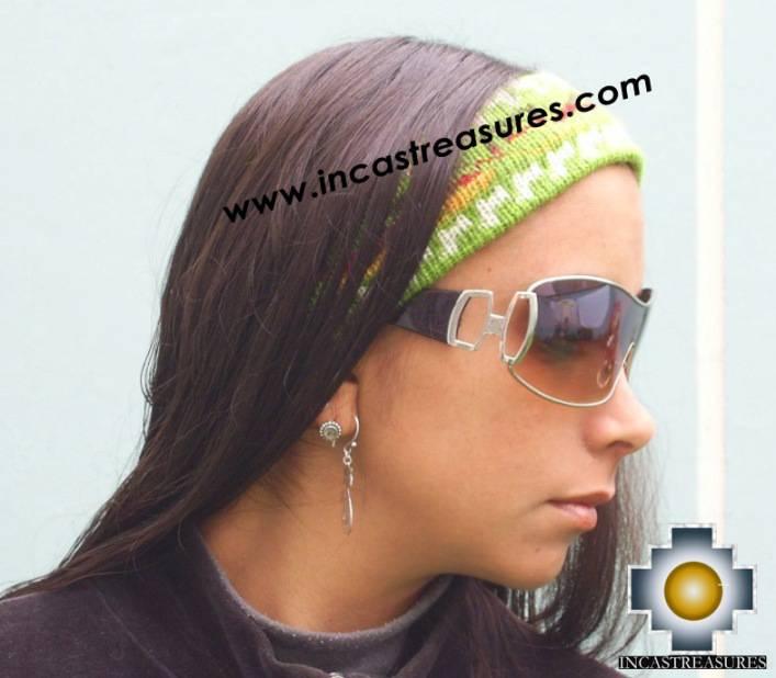 Alpaca Headband Andean Design green -  Product id: Alpaca-Headband10-03
