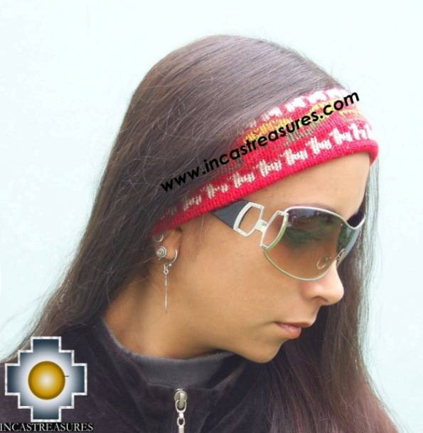Alpaca Headband Andean Design red -  Product id: Alpaca-Headband10-04