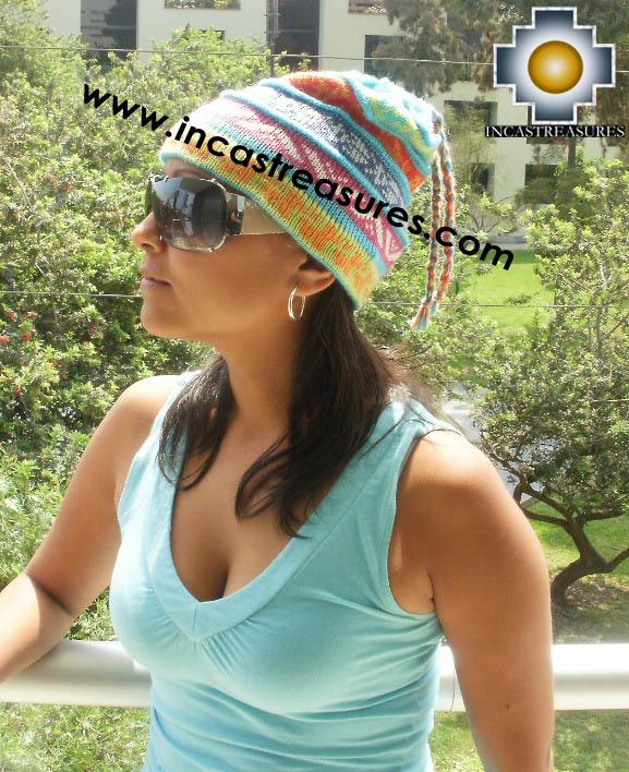 100% alpaca Winter Hat andenes skyblue  -  Product id: Alpaca-Hats12-10