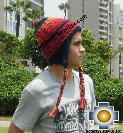 Alpaca Wool Hat Geometric Design blue -  Product id: Alpaca-Hats13-02
