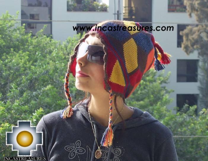 Alpaca Wool Hat Geometric Design Earth -  Product id: Alpaca-Hats09-21