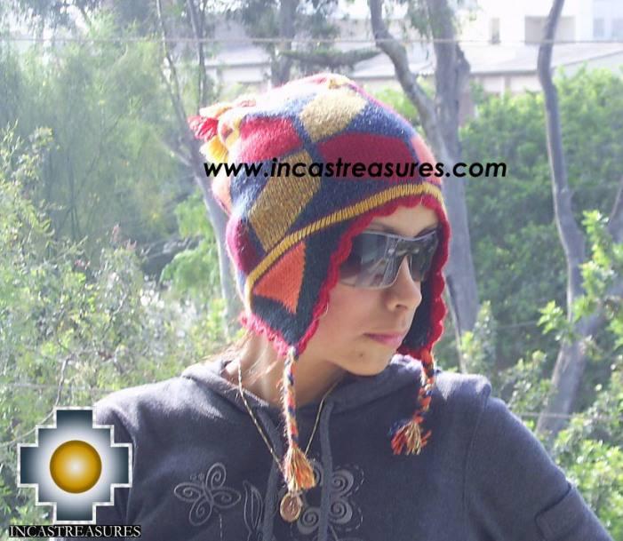 Alpaca Wool Hat Geometric Design fire -  Product id: Alpaca-Hats09-22