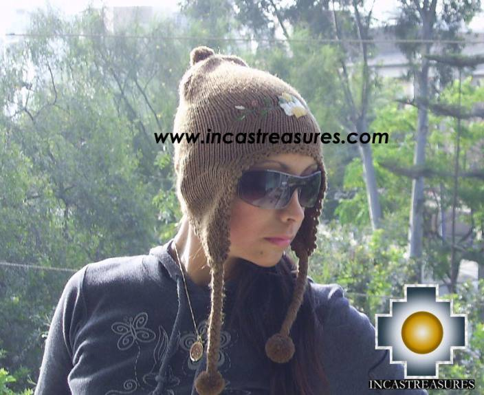Alpaca Wool Hat with Embroidery Kantuta chaxcra  - Product id: Alpaca-Hats09-04