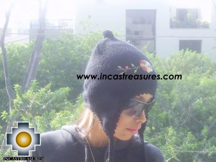 Alpaca Wool Hat with Embroidery Kantuta Yana  - Product id: Alpaca-Hats09-01