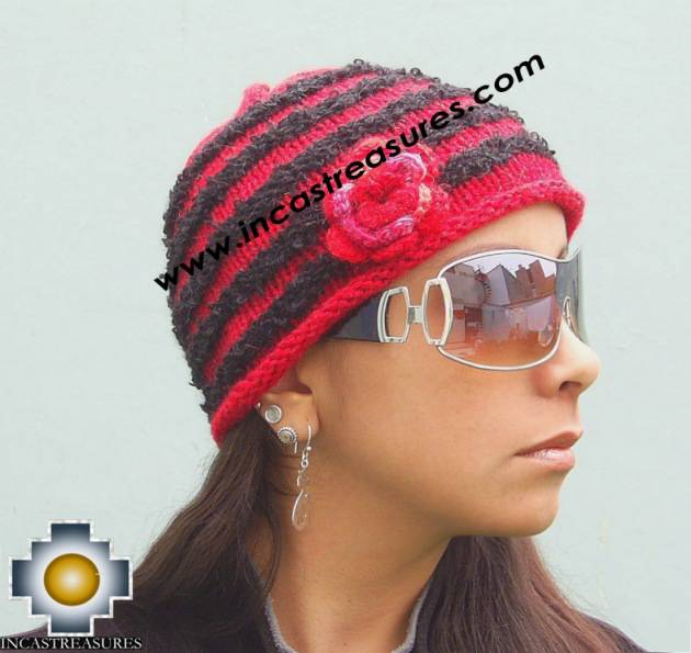 Alpaca Wool Hat worms red -  Product id: Alpaca-Hats09-46