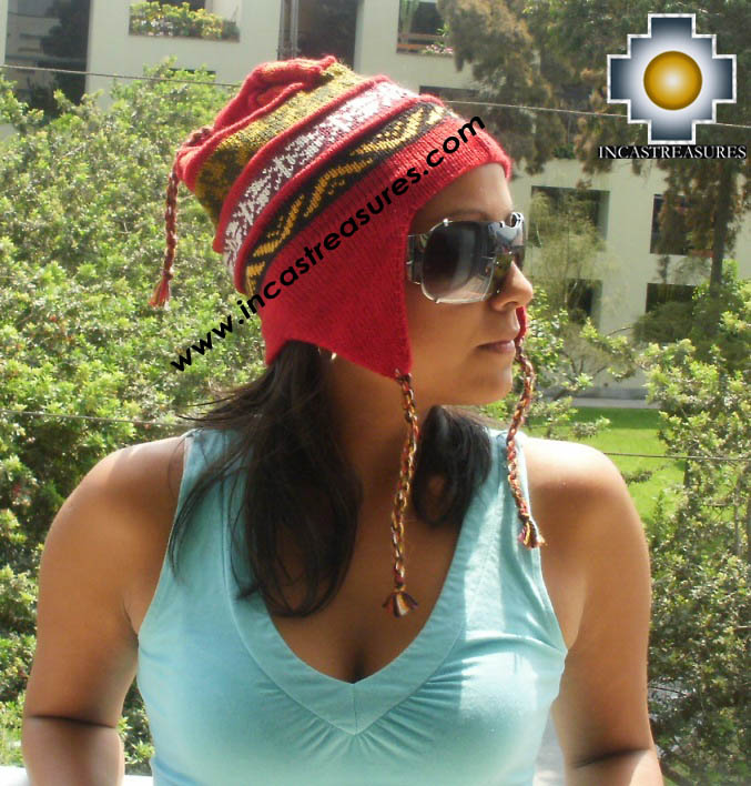 100% alpaca Winter Hat andenes red  -  Product id: Alpaca-Hats12-04