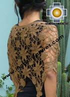 Andean Crochet Poncho Flowers camel - Product id: crochet-poncho-05 Photo02
