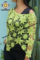 Andean Crochet Poncho Flowers Lemon