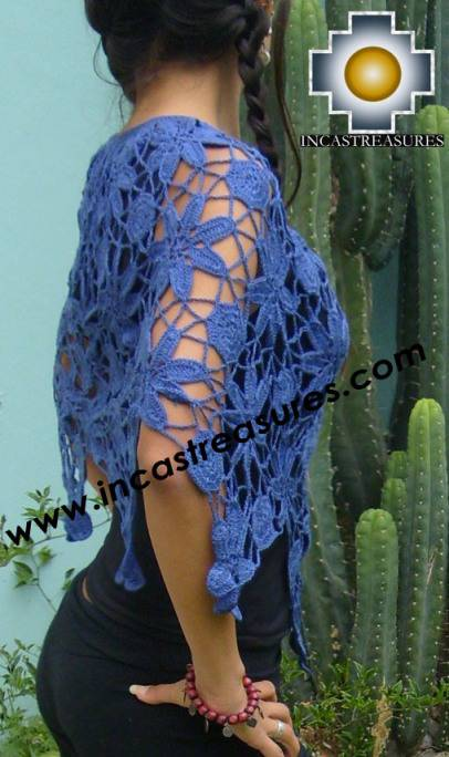 Andean Crochet Poncho Flowers blue - Product id: crochet-poncho-03