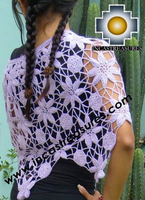 Andean Crochet Poncho Flowers grape - Product id: crochet-poncho-04