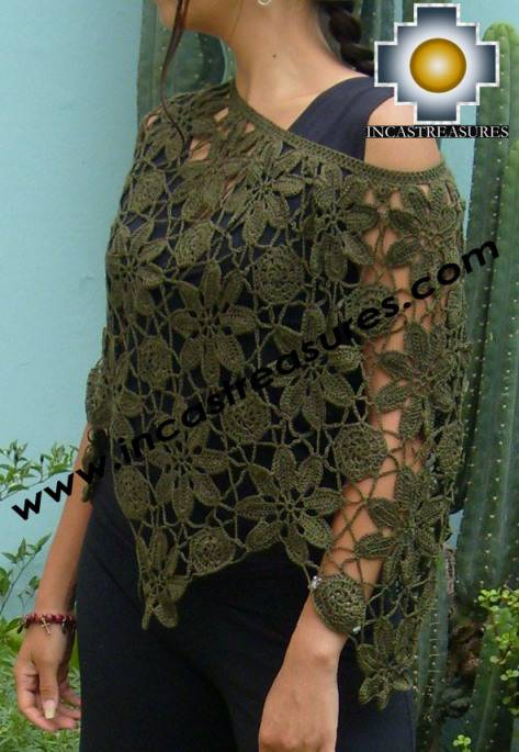 Andean Crochet Poncho Flowers green - Product id: crochet-poncho-07