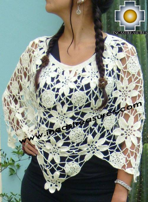 Andean Crochet Poncho Flowers white, free shipping