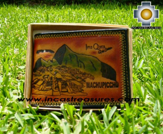andean leather wallet Machu Picchu, free shipping