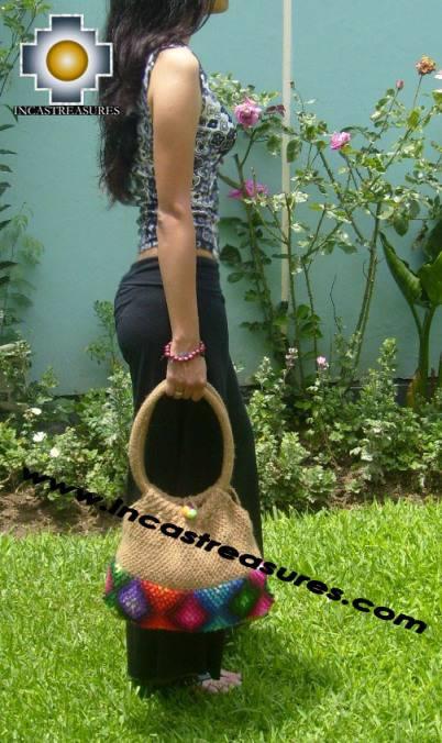 Beige handmade alpaca handbag with dots - Product id: HANDBAGS09-02