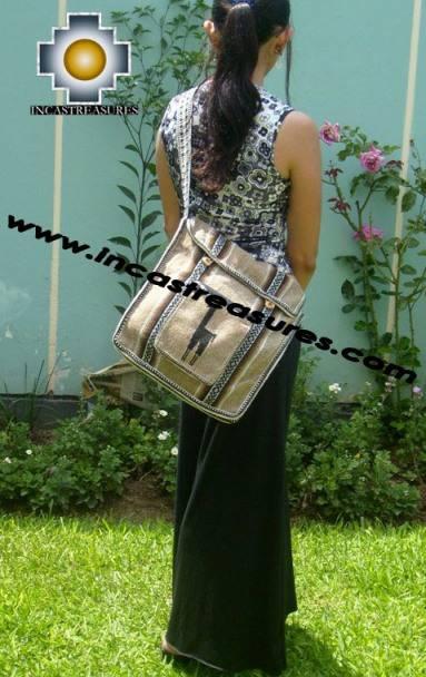 Andean Alpaca wool Handbag MESSENGER light-brown - Product id: HANDBAGS09-47