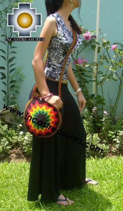 Handmade rasta round Handbag BRIGHT STAR