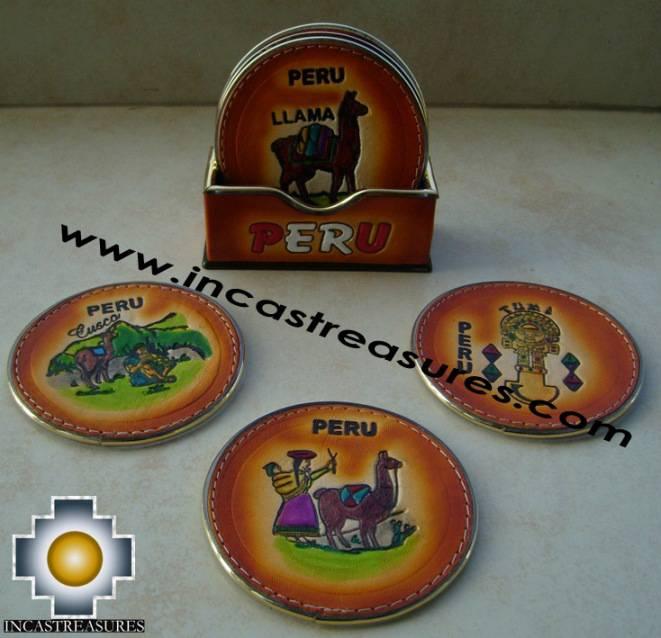 Home decor leather beverage coasters Peru