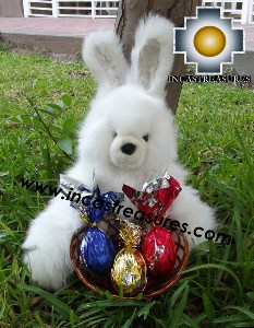 Alpaca stuffed easter bunny chocolate eggs - 100% Baby Alpaca - Product id: TOYS12-06 Photo03