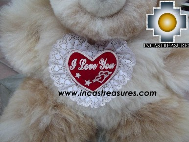 Alpaca stuffed teddy bear valentines day - 100% Baby Alpaca - Product id: TOYS12-05 Photo02