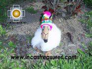 Happy white llama - chullo - little - Product id: TOYS08-30 Photo02