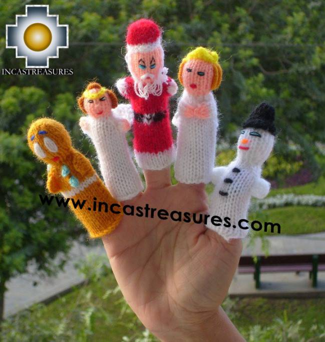 Christmas Special , hand-knit finger puppets