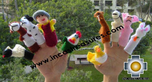 Farm Special , hand-knit finger puppets