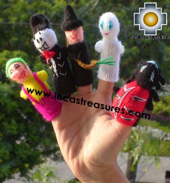 Halloween Special , hand-knit finger puppets
