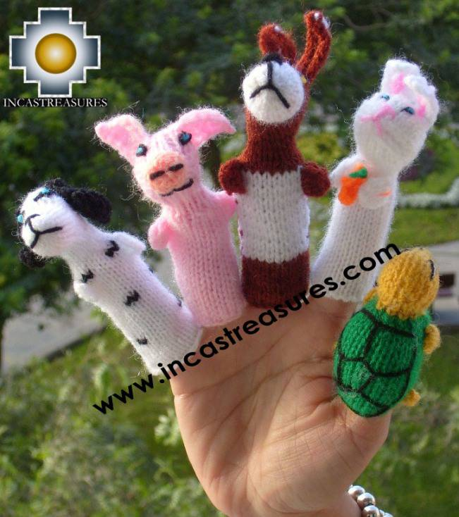 Hand-Knit finger puppet  tortoise-hare Special- Product id: TOYS08-47